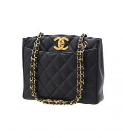 CHANEL VINTAGE CC CAVIARSKIN TOTE SHOULDER BAG シャネ