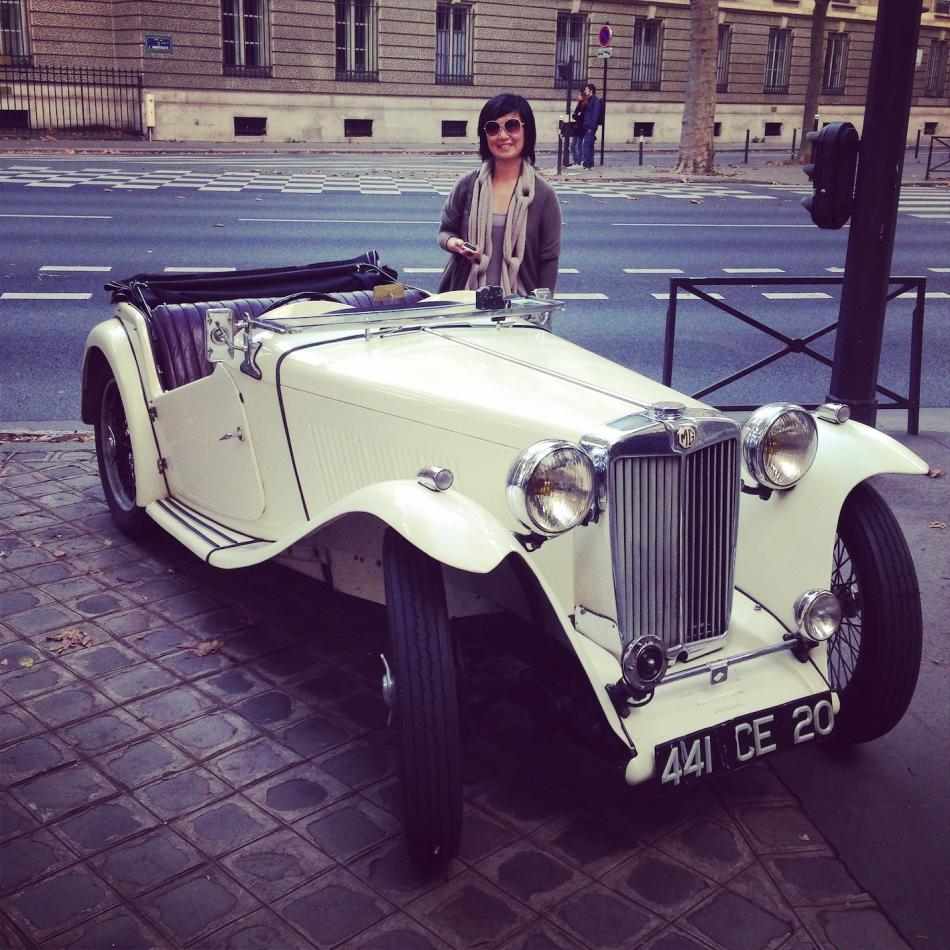 Our Expert Fashion Buyer YUKIKO with vintage car MG in Paris